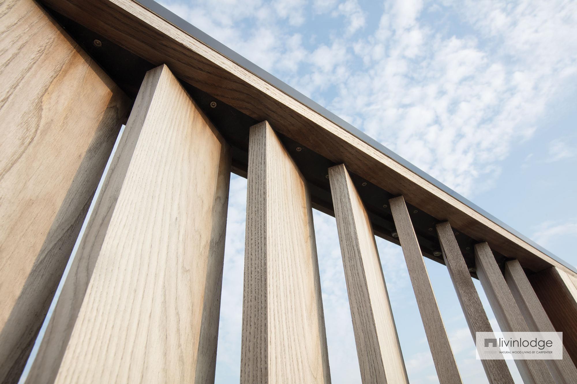 Moderne Holz Sonnenschutzlamellen Als Terrassen Sichtschutz In