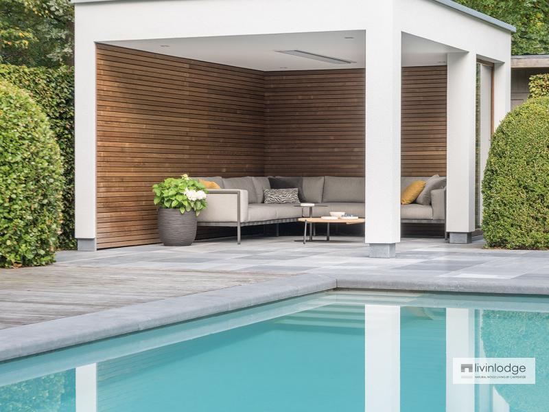 Moderne houten poolhouse met terrasoverkapping Zoersel   Houten bijgebouwen op maat