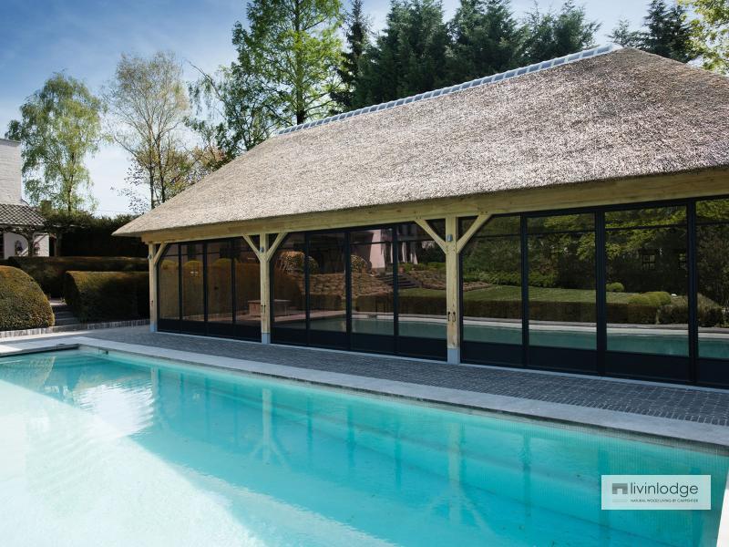 Exclusieve eiken poolhouse met verdieping te Ronse   Houten bijgebouwen op maat