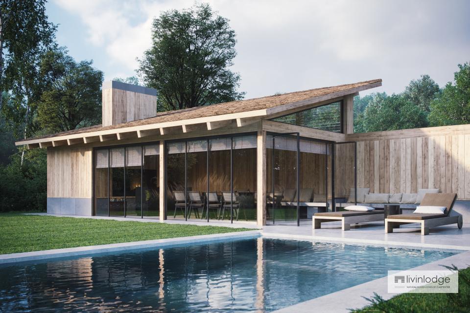 Eichen Poolhaus mit modernem Touch in Meulebeke