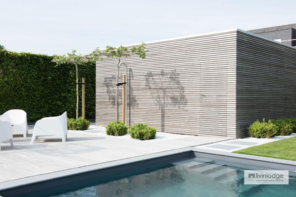 Minimalistisches Poolhaus samt Gartenhaus in Merchtem