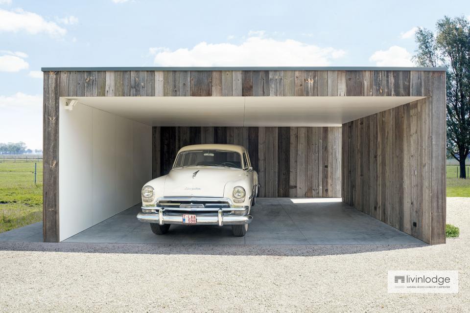 Modernes Doppelcarport mit Stauraum und Terrassenüberdachung in Olsene