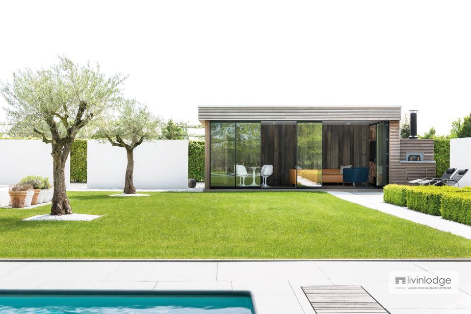 Modernes Gartenstudio samt Outdoor Holzofen in Brüssel